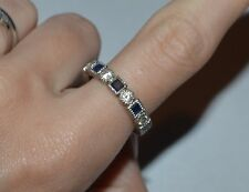 STERLING SILVER BLUE AND CLEAR CZ BAND RING SIZE 8