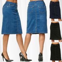 Jupe en jean au genou pour femme avec un lavage léger coton polyester élasthanne