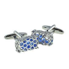 Honeycomb Basket of Blue Crystals Cufflinks in a Cufflink Box X2AJ276