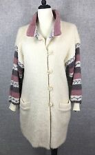 VTG HILDA LTD Iceland Wool Lined Fair Isle Cardican Sweater Coat Womans Large