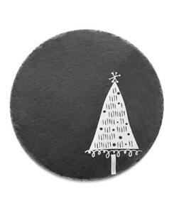 "Jay Imports Black Merry And Bright Triangle Tree Round Slate Trivet 10"""