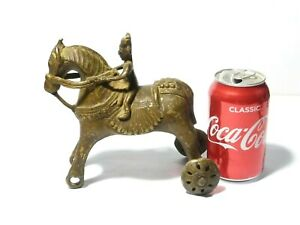 Antique Asian Cast Bronze Horse on Wheels + Rider TEMPLE TOY a/f wheels