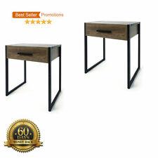 Set of 2 Industrial Rustic Side Bedside Table Drawer - Black & Brown Metal Legs