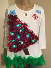 Ugly Christmas Sweater White w/ Red LIGHT UP tree Green boa Women's size PXL