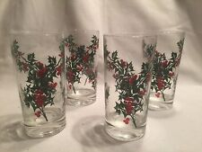 Vintage Christmas Holiday Holly Drinking Glasses Tumblers  Set Of 4