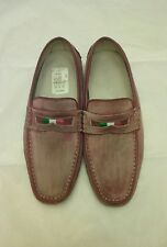 Bacco Bucci Dirty Pink/Red Suede Men's Driver Shoes Italian Flag Size 10.5