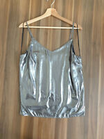Lipsy Silver Metallic Woven V-neck Strappy Cami Top Size 6-14