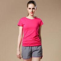 High Quality Sport Practice Plain T-Shirt Women Cotton Elastic Basic T-shirt