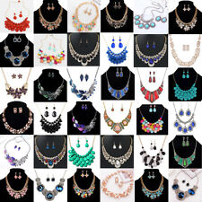 Women Jewelry Pendant Crystal Choker Chunky Statement Chain Necklace + Earrings