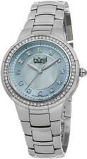 Burgi BUR093BU Swiss Quartz Diamond Markers Blue Dial Silvertone Womens Watch