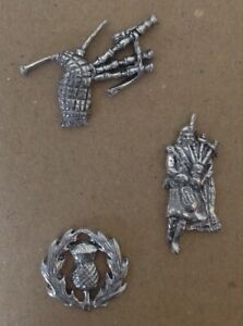 Three Scottish Themed Silver Pewter Pin Badges