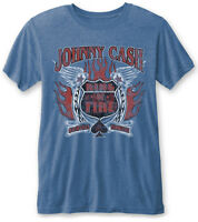 Johnny Cash 'Ring Of Fire' (Blue) Burnout T-Shirt - NEW & OFFICIAL