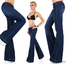 Women's Hipster Flare Cut Jeans Blue Wash Bootcut Jeans Pants Size 6-14 HOT JEAN