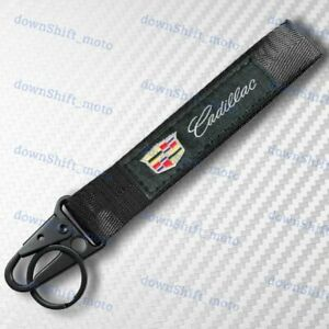 For CADILLAC Black Keychain Metal key Ring Hook Strap Lanyard Nylon Universal