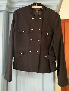 Jacke elegant Damen Gr. 44 H&M schwarz goldene Knöpfe doppelreihig seitl. Riegel