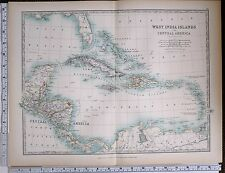 1903 LARGE MAP WEST INDIA ISLANDS CENTRAL AMERICA CUBA JAMAICA HAITI BAHAMA