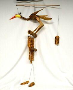 Vtg. Wooden Bamboo Bobbing Heading Crane Bird Wind Chime