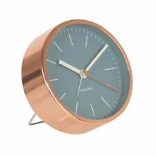 Karlsson Minimal Alarm Clock Blue Unique Bedside Bedroom Modern Timepiece
