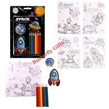 Kids creative Fun Space Design Colouring Pencil Set Sharpener Book Sticker Pages