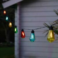 Solar Power LED Filament Festoon Fairy Lights Multi Colour | Outdoor Garden