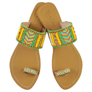 NEW Molly leather sandals in yellow Women's by Annie Clare
