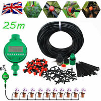 Automatic Drip Irrigation System Plant Timer Self Watering Garden 25M Hose Kit
