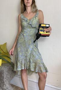 Designer Paul & Joe Sister Cotton Silk Wrap Dress 36 Uk 8 Grey Yellow Floral