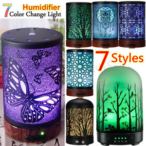 Iron/Glass 7 LED Ultrasonic Air Humidifier Aromatherapy Essentiall Oil Diffuser