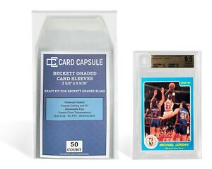 Card Capsule 50 Count Exact Fit for BGS Graded Slabs Resealable Sleeves Bags