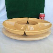 "4 Longaberger Butternut Crescent Dish & A Snudda 15"" Wood Birch Lazy Susan New"