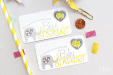 Yellow Elephant Baby Shower Scratch Off Game Cards - Baby Shower Game
