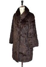 VINTAGE 80's Brown Long REAL CONEY RABBIT FUR Diva Glossy Party Coat Jacket UK L
