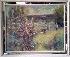 Alter Druck auf Leinwand Firnis craqueliert von Renoir, Art Deco Spiegel-Rahmen