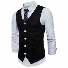 Mens Cotton Linen Vests Slim Fit Suit Business Wedding Formal Waistcoats Jackets