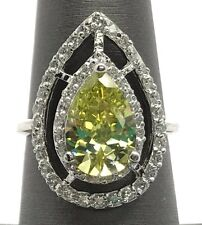 Sterling Silver 925 Pear Lemon Citrine CZ Double Halo Caged Web Cocktail Ring 7