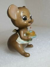 Vintage Josef Originals Mouse with Birthday Cake & One Candle - Adorable- Euc