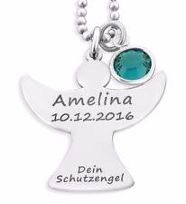 Engelkette mit Gravur & Geburtsstein, Schutzengel Schmuck, 925 Silber