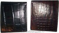 2 New Crocodile Skin Printed Leather man's bi fold wallet 2 billfolds 6 card ID