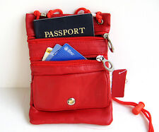 Red Leather Passport Neck Strap Holder Zip Bag Pouch Travel String Purse Wallet