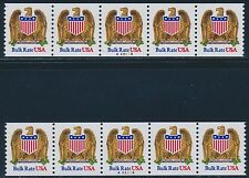 "#2604 (2) PLATE # 32333 & #33334 STRIP OF 5 XF OG NH ""EAGLE"" CV $450.00 BR3323"