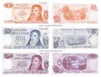 Argentina 1 + 5 + 10 Pesos Set of 3 Banknotes 3 PCS UNC