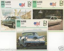 3 FICHES AUTOMOBILE USA CAR KAISER DRAGON MANHATTAN DARRIN 1951-1955