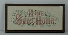Vintage Framed Under Glass Home Sweet Home Needle Point Muslin Sampler