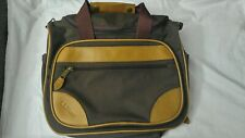 LL Bean Brown Canvas Briefcase Messenger Laptop Bag Leather Trim