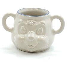 Vintage Pfaltzgraff Baby Child Cup Mug Teddy Bear Face Two Handles Cream Blue