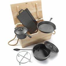 El Fuego® Dutch Oven Set 7-tlg. Ofen Gusseisen Kessel Deckelheber Feuertopf Topf