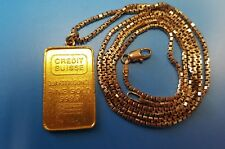 24k Credit Suisse 999.9 Gold Quarter Ounce 7.94 g with 14k Box Chain Total 16.5g