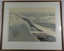 Vintage Original Collagraph Intaglio Prairie Winter V by Roslyn Swartzman Listed