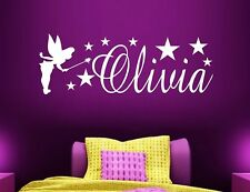 PERSONALISED NAME FAIRY WALL ART STICKER GIRLS CHILDRENS BEDROOM