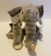 FAO Schwarz Plush Sitting Elephant Realistic Stuffed Animal 18 Inches Grey